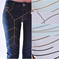 Women Sexy Leg Chain Multi Thigh Armor Waist Body Belly Chain Harness Jewellery