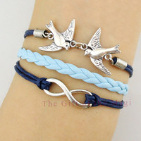 Infinity wish and Love Birds Charm Bracelet in by TheGiftoftheMagi