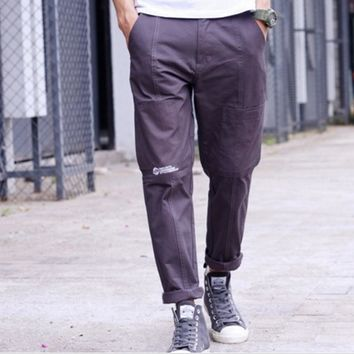 New tide brand men solid color overalls trousers pants sub English trousers casual pants male Gray
