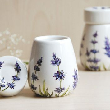 Hand Painted Herb Pods  set of 2  Lavender  made to by yevgenia