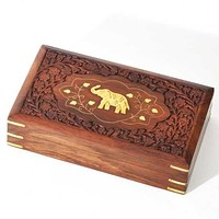 "Wood Box with Carving and Brass Inlay Elephant 10""x6"""