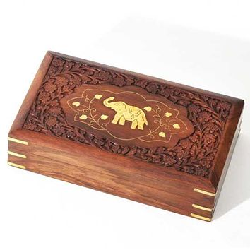 """Wood Box with Carving and Brass Inlay Elephant 10""""x6"""""""