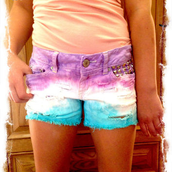 Custom, Made-to-order, Low-waisted Tri Ombre Jean Shorts