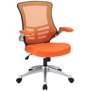 LexMod Attainment Office Chair With Orange Mesh Back and Leatherette Seat