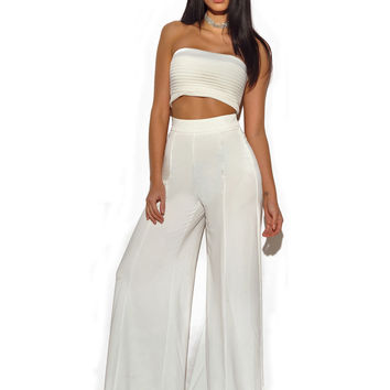 Sayuri Seashell White Stretch Crepe Strapless Two Piece Pantsuit