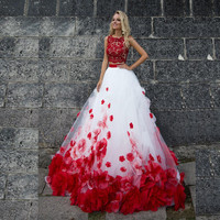Tow Pieces Red And White Prom Dress Ball Gown Tulle Prom Gown With Hand Flower Sweep Train Zipper Back Prom Party Gown