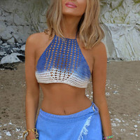 Hand Knitted Bra Chest Wrapped Gradient Beach