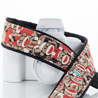 Sock Monkey Camera Strap, dSLR, SLR, Camera Neck Strap, Canon Strap, Nikon Strap, Pocket, 87 a