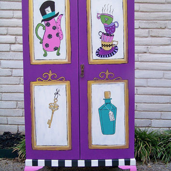 Vintage Painted Childs Armoire Alice in Wonderland by TraceysFancy