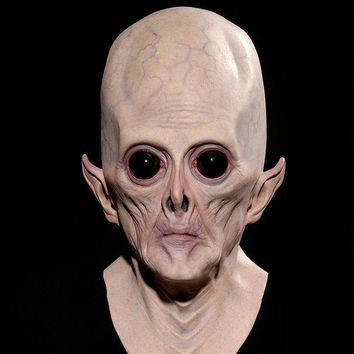 Realistic UFO Alien Head Mask Latex Creepy Costume Party Cosplay Creepy Halloween Terrorist Alien Mask Masked Balls Mask CS12 DD