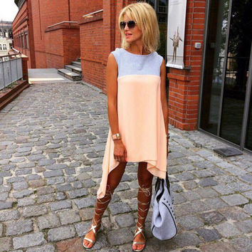 Light Pink Contrast Sleeveless Asymmetric Dress