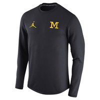 Nike Sweatshirts Jordan University of Michigan Football Navy Head Coaches Modern Crew