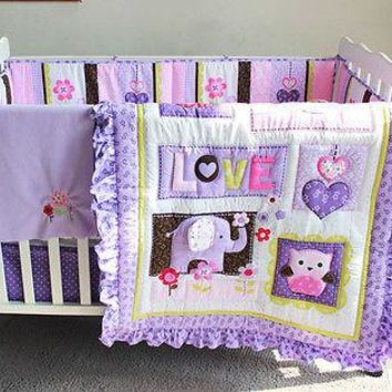 8 Pieces Purple 3D Embroidererd Elephant Owl Cotton Baby Crib Bedding Set