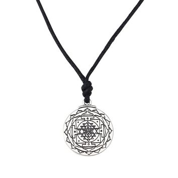Flower of Life Necklace & Pendant Sacred Geometry Round Leather Rope Chain Necklaces Jewelry