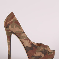Liliana Camouflage Peep Toe Stiletto Platform Pump