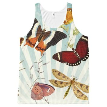 vintage butterfly collage All-Over print tank top