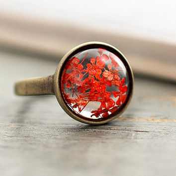 NEW, SPRING OFFER: brass gold transparent ring with tiny dried flowers. Red blossoms in eco-friendly resin. Adjustable. Stackable.
