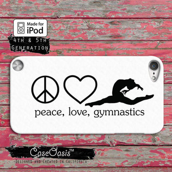 Peace Love Gymnastics Cheer Dance Sign Cute Tumblr Case iPod Touch 4th Generation or iPod Touch 5th Generation Rubber or Plastic Case