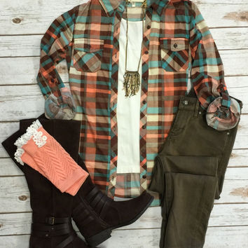 Penny Plaid Flannel Top: Brown