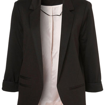 Black Pocket Detail Long Sleeve Blazer
