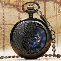 Steampunk Black Peacock Hollow Case Blue Roman Number Skeleton Dial Mechanical Pocket Watch
