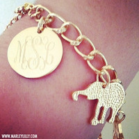 Monogrammed Gold Elephant Bracelet | Marley Lilly