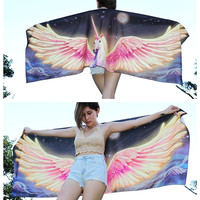Unicorn scarf, Pegasus Wings Scarf, Hand painted fantasy wonderful very comfy bride great gift