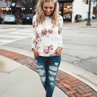 Chasing You Floral Sweater (Ivory)