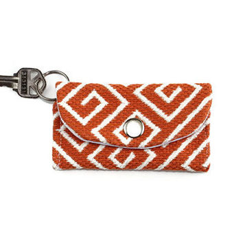 Orange Maze ID Keychain Wallet, Student ID Holder on Key Ring, Card Holder with Free Shipping