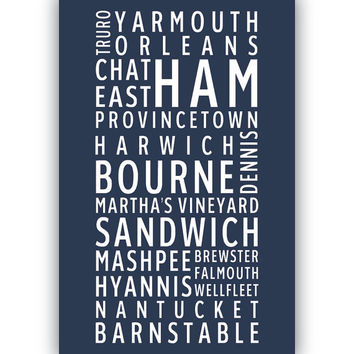CAPE COD Towns - Typography poster print