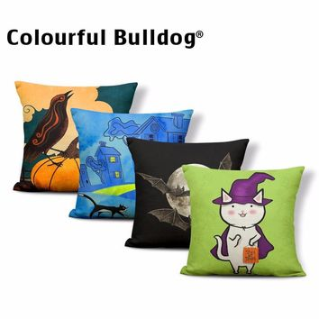 Cute Pumpkin Mexico Sugar Skull Cushion Cover Black Butterfly Rose Case Pillow Trick or Treat Mouse Party Decorate Pillow Covers
