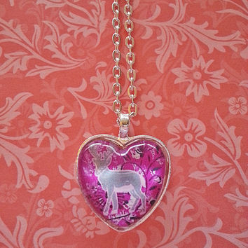 Grey deer with flowers glass dome heart necklace for tween or teen girl