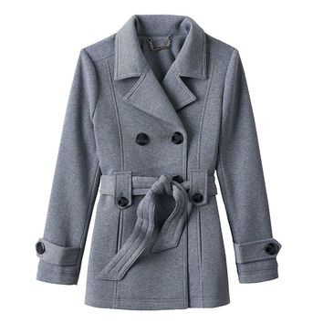 J2 by Jou Jou Double-Breasted Fleece Peacoat - Girls 8-16, Size: