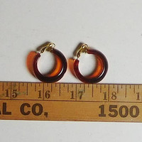 Chunky Wide Amber Resin Clip On Earrings, Thick, Hoop, Never Worn, Vintage 70s 80s, Costume Jewelry