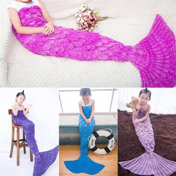 NEW Charming Girl Adult Mermaid Tail Blanket Knitting Sofa Sleeping Acrylic Mermaid Blanket For Bed Super Soft Sleeping Bed