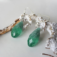 Crystal earrings, silver flakes resin earrings, earrings dangle, earrings silver