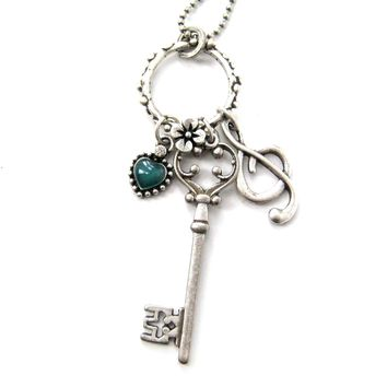 Skeleton Key Heart and Treble Clef Pendant Necklace in Silver DOTOLY