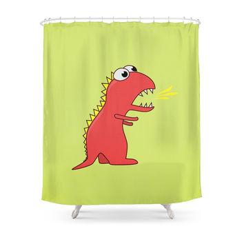 Society6 Cute Cartoon Dinosaur With Fire Breath Shower Curtains