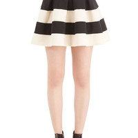 ModCloth Vintage Inspired Short Length Full Stripe It Lucky Skirt in Black White