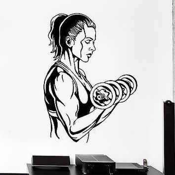 Wall Sticker Sport Activity Woman Girl Gym Dumbell Vinyl Decal Unique Gift (z2993)