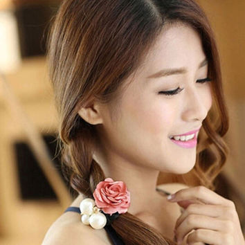 1PC Hot Lady Satin Ribbon Rose Flower Pearls Elastic Rope Hairband Ponytail Holder Hairband Gift Hair Band Accessories