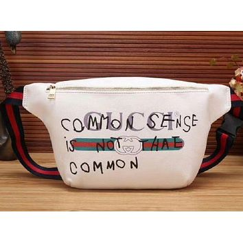 GUCCI Fashion Logo Print Leather Zipper Crossbody Satchel Shoulder Bag White I-MYJSY-BB