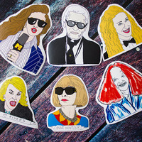Fashion Sticker Pack // Anna Wintour Vogue Joan Rivers Illustration Karl Lagerfeld Chanel Sex And The City Grace Coddington Carrie Bradshaw