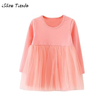 Toddler Girls dresses Long Sleeve Solid Tutu lace Baby clothes Princess dress Casual tulle party child dress costume for kids