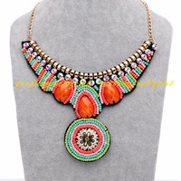 New Vintage Tribal Handmade Candy Color Resin Bead Statement Bib Collar Necklace = 1958155844