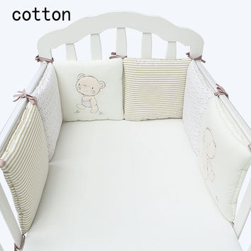 Hot Sale Infant Crib Bumper Bed Protector Baby Kids Cotton Cot Nursery bedding 6 pc plush bear bumper for boy and girl