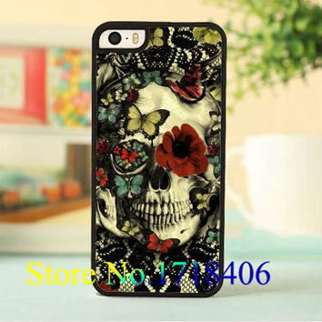 Vintage Gothic Lace Skull fashion cell phone case cover for iphone 4 4s 5 5s 5c SE 6 6s & 6 plus 6s plus
