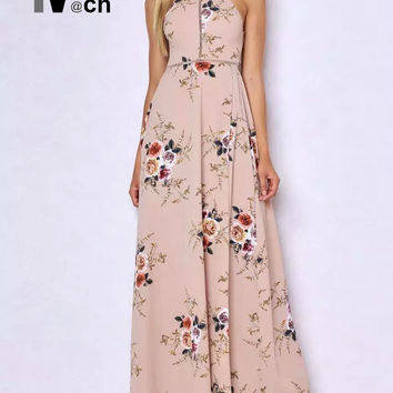 Beach Sexy Long Dress Off shoulder Elastic Waist Back Bow Side Slit Lace Patchwork Flower Chiffon Halter Maxi Dress DR02091DT