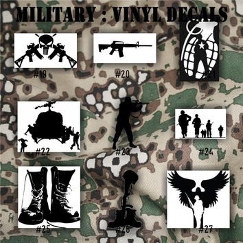 MILITARY vinyl decals - 19-27 - car stickers - vinyl decal - custom decals - personalized sticker - Army, Air Force, Navy and Marines