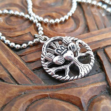 Silver Celtic Necklace, Tree of Life Necklace, Claddagh Necklace, Silver Tree Necklace, Pagan Necklace
